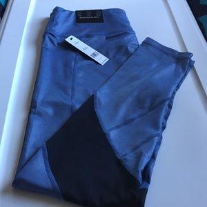 BCBG Maxaria Perry Blue leggings w black mesh LG